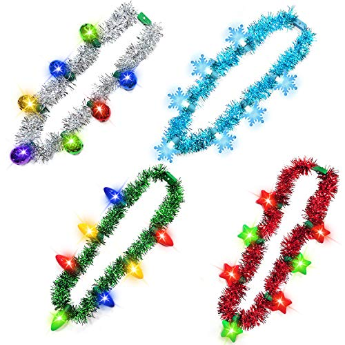 TURNMEON Christmas Light up Necklace–New Year Eve Party Favors for Kids Men Women, Christmas Decoration Holiday Accessories Funny Party Supplies(4 Pack)