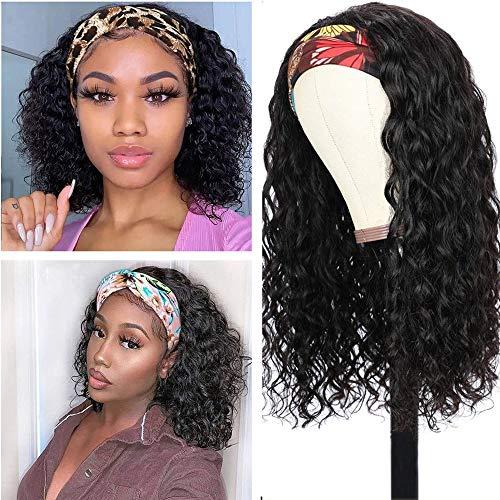 Water Wave Headband Wig Human Hair Wet and Wavy Glueless Headband Wig...