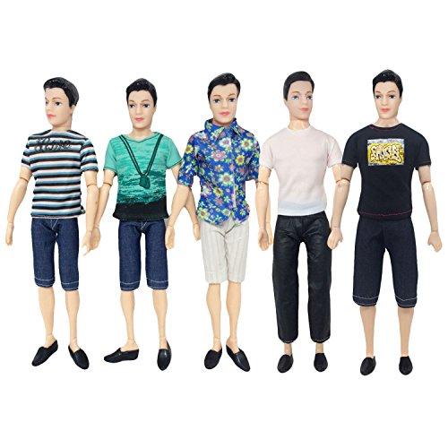 Kleidung für Ken Barbie,Beetest 5 Sätze Mode Freizeitkleidung Puppe Kleidung Jacke Hosen Outfits Zubehör für Männer Junge Ken Barbie Puppen Kinder Geburtstag Weihnachtsgeschenk