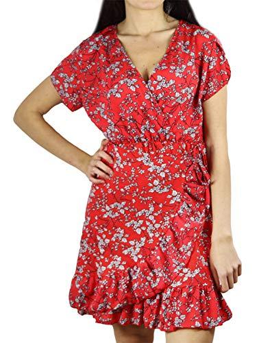 Krótka Letnia Sukienka W Czerwone Kwiaty - Gruba I Elastyczna Tkanina (38)