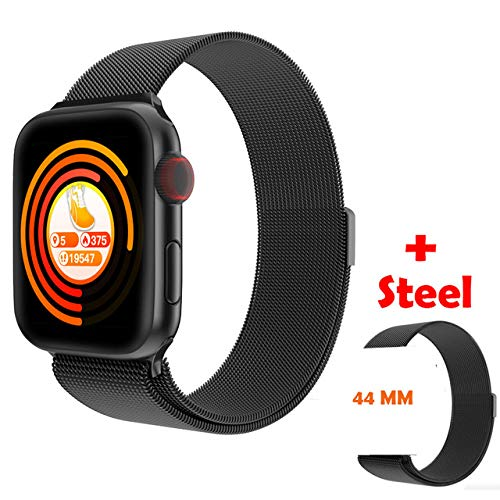 AAA&LIU Full Touch Alloy Case Smart Watch Hombres para Apple Watch Series 5 Teléfono Android PK P80 Mujeres Smartwatch Hombres 44MM Correa, Doble Acero Negro,