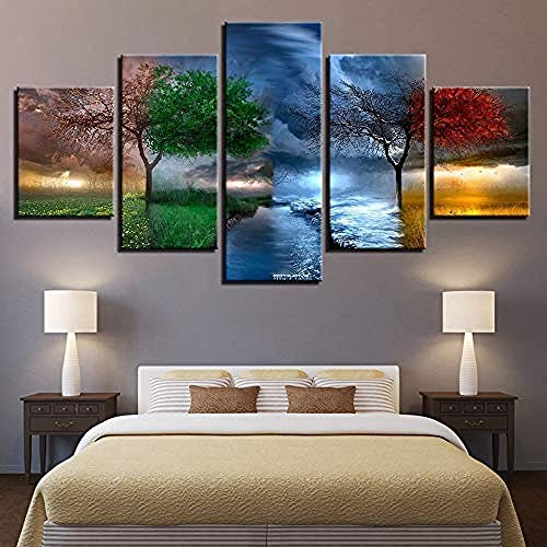liafa 5 Paintings On Canvas Prints On Canvas Pictures Wall Art 5 Pieces 4 Season Trees Abstract Paintings For Living Room Landscape Poster Home Decor - Five-Piece Paintings-Inner Frame