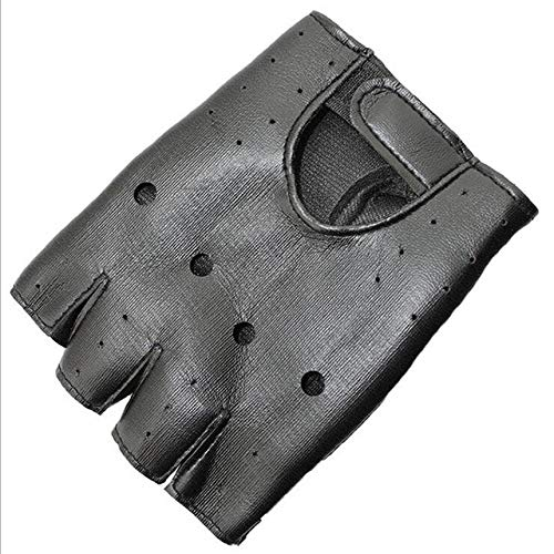 Schöne Party Kinder Erwachsene Nieten Handschuhe Half Finger PU Lederhandschuh Dünne Sport Fitness Schwarzer Handschuh-a3-Child