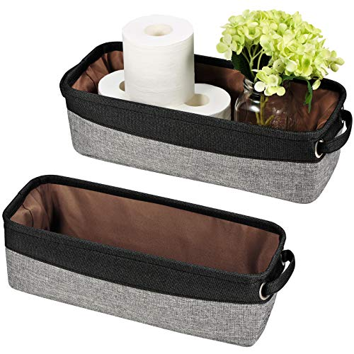 Soft Cotton Fabric Home Storage Bin with Coated Interior & Handles(2 Pack)-Toilet Paper Rolls Holder-Organizer for Towels,Diaper,DVD's-for Closets, Cabinets, Shelves, Media Consoles (Grey and Black)