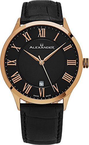 Alexander Statesman Triumph Wrist Watch for Men - Stainless Steel Plated Rose Gold Watch - Black Leather Analog Swiss Watch - Black Dial Date Mens Designer Watch A103-05