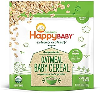 Happy Baby Organics Clearly Crafted Cereal Whole Grains Oatmeal, 7 Ounce Bags (6 Count) Organic Baby Cereal in a Resealabl...