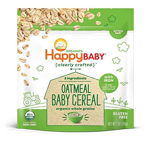 Happy Baby Organics Clearly Crafted Cereal Whole Grains Oatmeal, 7 Ounce Bags (6 Count) Organic Baby Cereal in a Resealable Pouch with Iron to Support Baby's Brain Development a Great First Food