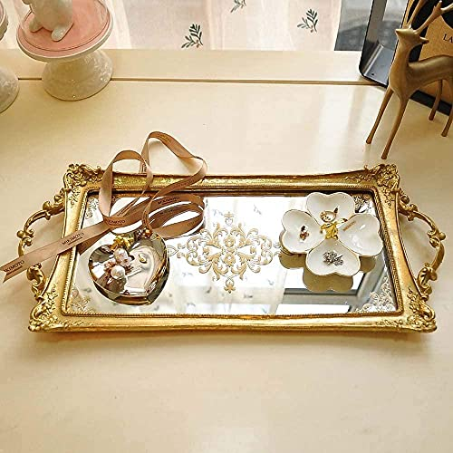 Statues,49Cm Between Gold Mirror Cosmetic Storage Tray Jewelry Cupcake Pan Model Ornaments * 21Cm