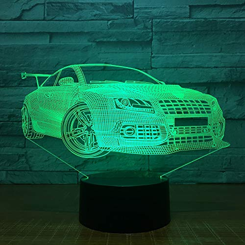 Sport Rennwagen 3D USB LED Nachtlicht 7 Farben Illusionslampe Touch oder   Control Kinderzimmer Lampe Worldwide Drop Ship