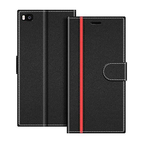 COODIO Handyhülle für Huawei P8 Handy Hülle, Huawei P8 Hülle Leder Handytasche für Huawei P8 Klapphülle Tasche, Schwarz/Rot