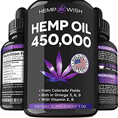 Hemp Oil 450,000 - Improved Formula - Made in The USA - Hemp Seed Oil for Stress & Anxiety Relief - Natural Sleep Aid - Mood & Immunity Boost - Rich in Omega 3, 6, 9 by HEMPWISH