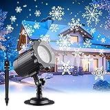 LED Proyector Luce Navidad, Proyector Lámpara Copos de Nieve, Dinámica de Efectos de Nieve Luz Impermeable IP65, Ángulo Ajustable de 180°, Exterior & Interior, para Fiesta Halloween Jardín