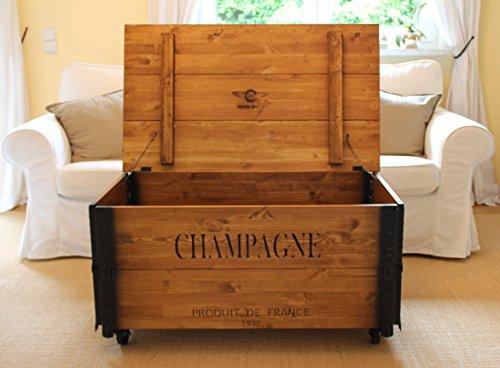 Uncle Joe´s Couchtisch XL Champagne Truhentisch Truhe im Vintage Shabby chic Style aus Massiv-Holz in braun mit Stauraum und Deckel Holzkiste Beistelltisch Landhaus Wohnzimmertisch Holztisch nussbaum - 3