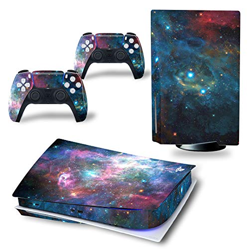 UUShop Skin Sticker Sticker Sticker für Playstation PS5 CD Disk Edition Konsole und Controller Galaxy Sky