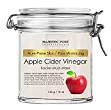 Apple Cider Vinegar Facial Mask by Majestic Pure - Face Mud Mask for Pore Minimizing and Acne Prone Skin - Promotes Younger Looking Skin - 10 oz