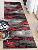 Carpeto Rugs Teppich Läufer Flur - Modern Teppichläufer – Kurzflor, Weich - für Küche Vorzimmer Eingangsbereich Schlafzimmer - Meterware 100 cm Breit - Grau Rot 100 x 300 cm