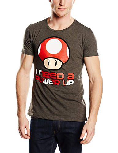 T-Shirt 'Super Mario Bros' - I Need A Power Up - Gris - S