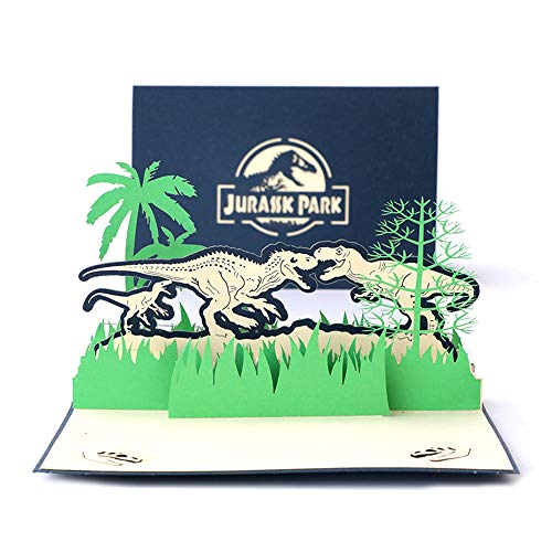 DEESOSPRO® 3D Pop Up [Geburtstagskarte] [Grußkarte] [Jubiläumskarte] [Abschlusskarte] mit Kreativem Papierschnittmuster, Geschenk für Geburtstag, Abschlussfeier, Weihnachten,Kindertag (Jurassic Park)
