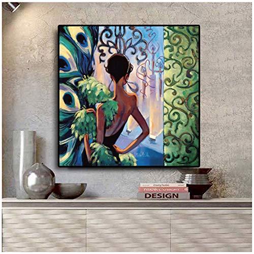 sjkkad klassieke pauw stijl meisjes canvas schilderij vintage poster en prints Scandinavische Nordic muurkunst afbeelding voor de woonkamer -50x50 cm geen lijst