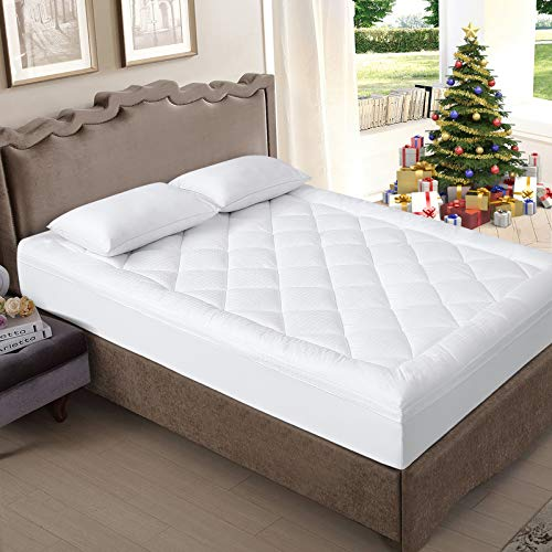 EDILLY California King Mattress Topper,Pillow Top Mattress Protector 2' Extra Thick Mattress Pad Cover,300TC Cotton Top with 8-21Inch Deep Pocket Down Alternative Fill