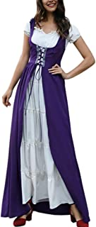 Women Medieval Dress Renaissance Lace up Vintage Floor Length Cosplay Long Costumes
