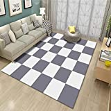 SYFANG Alfombra para Sala de Estar, Dormitorio,Off-White Checkered Symmetrical Carpet,Alfombra súper Suave y esponjosa, Alfombras para el hogar, 120X160cm (47X63inch)
