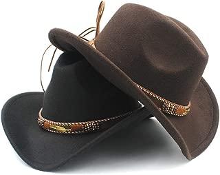 SHENTIANWEI Men Women Wool Western Cowboy Hat with Punk Belt Pop Wide Brim Jazz Hat Sombrero Hat Church Hat Size 56-58CM