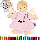 LALALO Sterntaler Schutzengel Kuscheltuch / Schmusetuch Bestickt mit Namen und Geburtsdatum für Baby & Kinder personalisiert, Mädchen, (Schutzengel Emmi Girl Rosa)