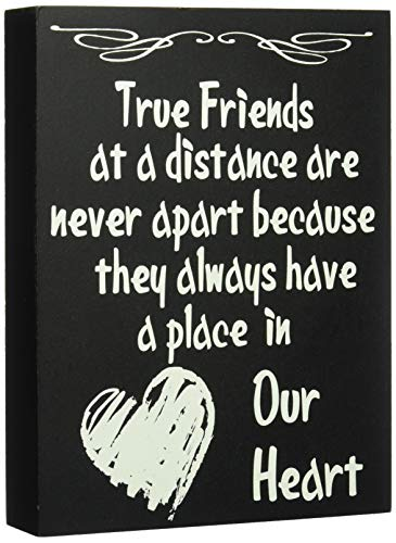 JennyGems True Friends at a Distance Are Never Apart Because They Always Have a Place in Our Heart - Home Decor Accents - Friendship Sign - Long Distance Friendship Gifts - Gallentines Gift for Friend
