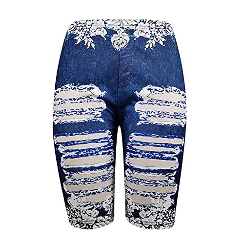 N\P Pantalones de mujer falsos Denim señoras pantalones cortos verano floral impreso cintura alta pantalones cortos femeninos