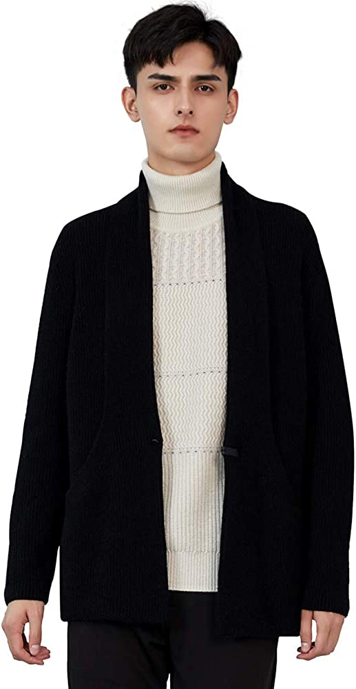 Zhili Men's 100% Cashmere Shawl Collar Open Front Thick Sweater Relax Fit Cardigan