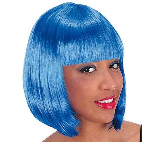 DC Perruque carre Pin Up 60's 70's 80's - Frange - Synthetique - Bleu Fonce - 25