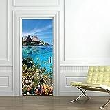 2pcs / set Seaside Landscape Door Sticker Puerta correderaWallpaper Wall Sticker Living Room Home Bedroom Home Decorative-B