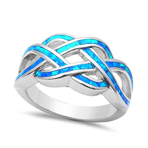 Celtic Trendy Crisscross Twisted Knot Infinity Ring Over Lab Created Blue Opal 925 Sterling Silver, Size-8