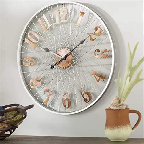 Retro Kunst aus Eisen Wanduhr, Nordic Silent Vintage Metall Industrial Style Decor Quarz Uhren, Rad/Fahrradfelge Runde Wandaufkleber Dekorative Uhr