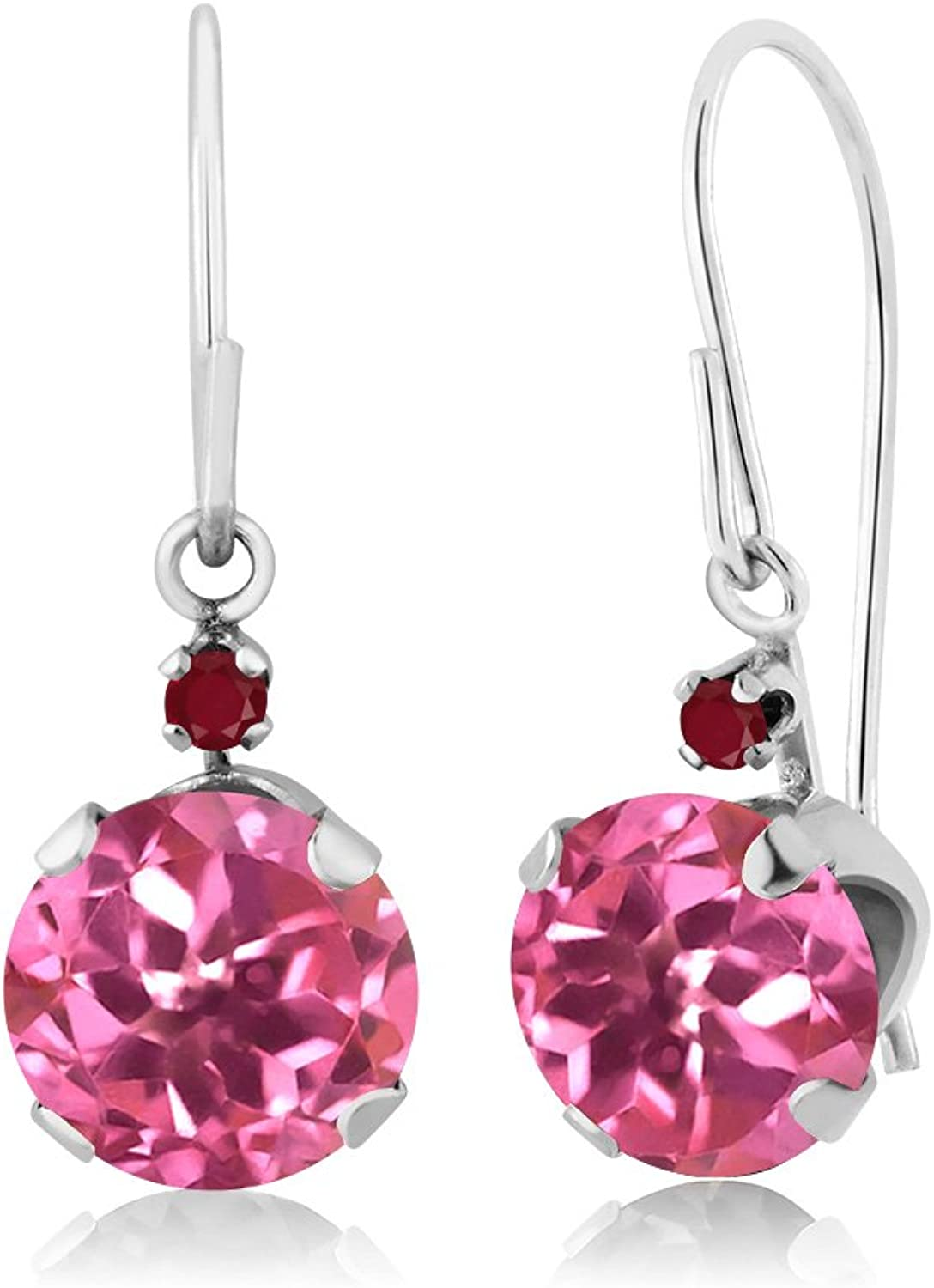 2.04 Ct Round Pink Mystic Topaz Red Ruby 14K White gold Earrings