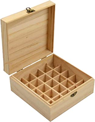 YHCWJZP 25 Slots Essential Oil Storage Box Case Solid Wooden Container Holder Organizer