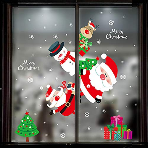 Eokeanon Calcomanías de Navidad, La ventana de Navidad, Etiqueta de la pared de Navidad Pegatinas de ventana de copo de nieve, Festival de Decoraciones navideñas Decoración de Navidad Etiqueta de la ventana Cartel Calcomanías de arte