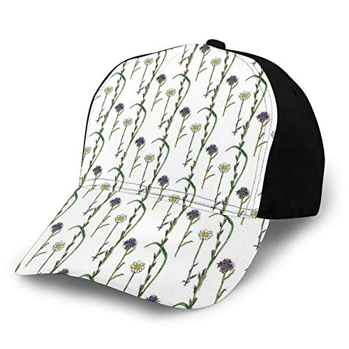 FULIYA Printed Baseball Cap,Wild Flowers Herbal Treatment Branches with Daisy and Lavender Motif,Hat for Men Women Teens