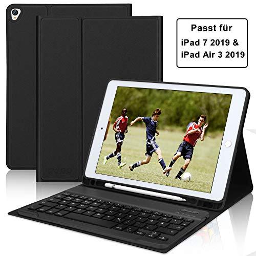 KVAGO Tastatur für iPad 2019, iPad 7 Tastatur Hülle mit Auto Weck/Schlaffunktion, Bluetooth Deutsch Tastatur und Robustes Hülle Kompatibel mit iPad Air 3/iPad 10.2 2019/iPad Pro 10.5 - Schwarz