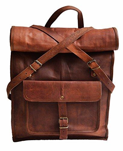 Jaald 55 Cm Zaino Bagaglio Borsa Zainetto Carry on a Palestra Mano in Vera Pelle da Uomo Donna Leather Laptop Backpack da Viaggio Scuola Universita Professionale Casual Vintage Elegante Regalo