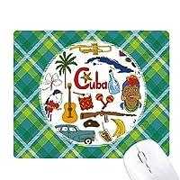 キューバの風景の動物の国旗 緑の格子のピクセルゴムのマウスパッド