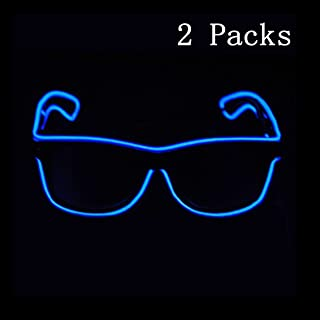 SN-RIGGOR 2 Pairs Light up Illuminated Electroluminescent EL Wire LED Glasses Light Frame Costumes Eyeglasses El Light Glowing Party Rave Glasses El Wire Glow Sun Glasses,Blue Light