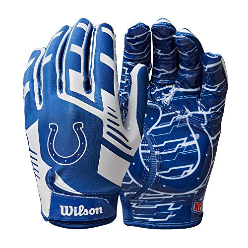Wilson NFL Stretch Fit Football Gloves - Indianapolis-Youth (WTF9327IN)