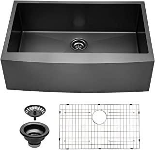 Sarlai SAB3322R1 33 inch Black Farmhouse Apron Single Bowl 16 gauge Stainless Steel Kitchen Sink