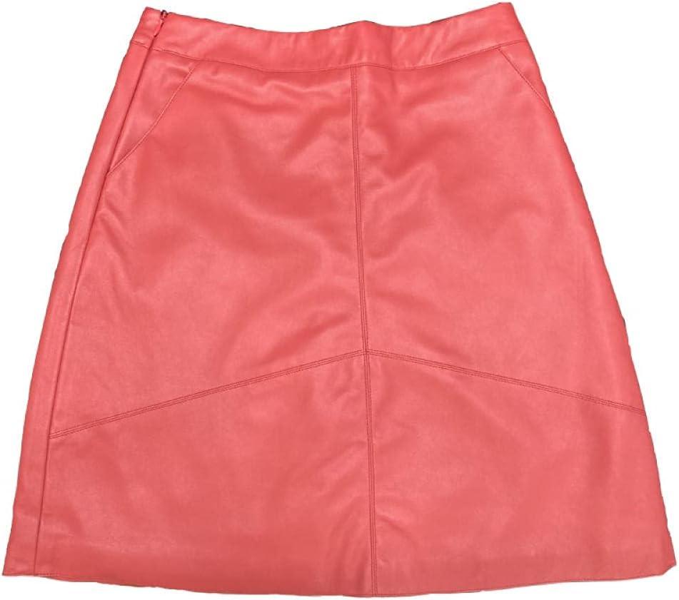 FWJSDPZ Spring Waist Short Skirt Ladies Sheepskin A-line Playful Mini Skirt Leather Skirt (Color : Red, Size : X-Small)