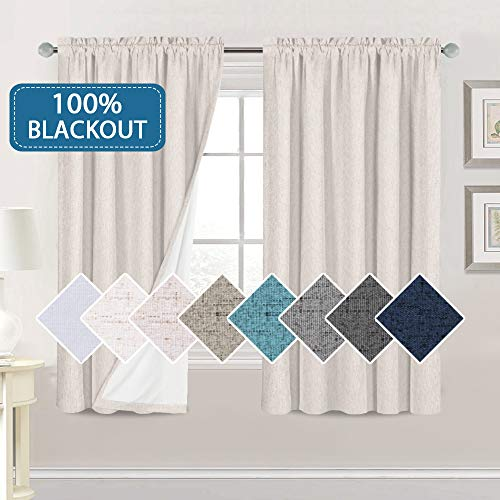 H.VERSAILTEX Linen Look 100% Blackout Curtains 63 Inches Long for Bedroom Full Light Blocking Rod Pocket Linen Textured Thick Window Curtain Drapes with White Backing, Ivory, 2 Panels