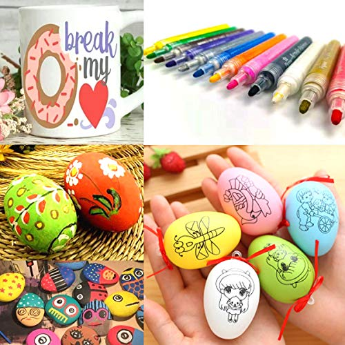 Paint Pens for Rock Painting Stone Ceramic Glass Wood Fabric Canvas Mugs Card 2 mm Fast Drying DIY Craft Making Supplies Scrapbooking Craft Acrylic Paint Marker Pens Set of 12 Colors Photo #5