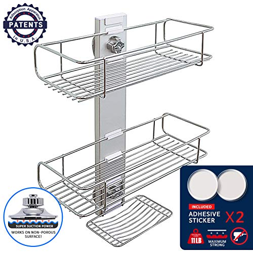 BathBeyond Shower Caddy Suction Cup 2Tier Shower SHELF With...