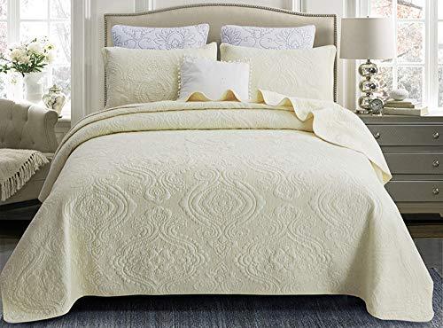 Bettüberwurf/Tagesdecke Premium Baumwolle Steppdecke Gesteppt Decke Mit Kissenbezug, Für Doppelbetten Sofaüberwurf Bett,BeigeB-240X260cm